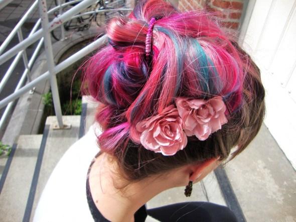 blue pink green hair updo